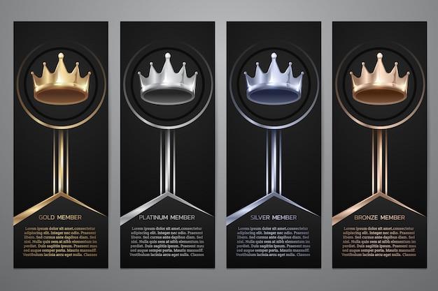 Corona metallica in bandiera nera, oro, platino, argento, bronzo, illustrazione.