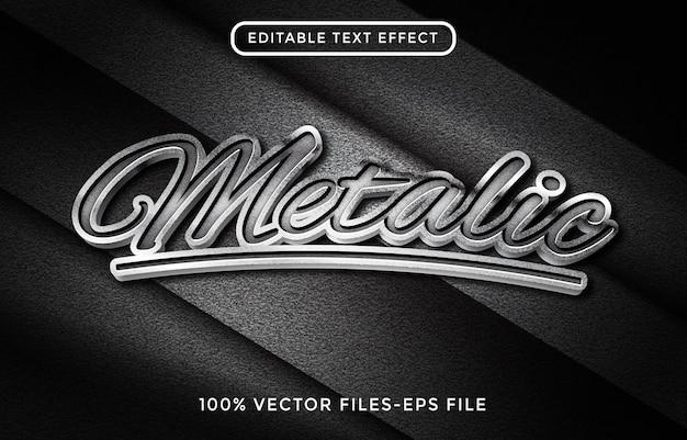 Effetto di testo editoriale metallico. effetto acciaio con fondo in carbonio
