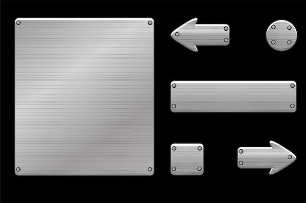 Pulsanti e interfaccia utente di gioco 2d in metallo.
