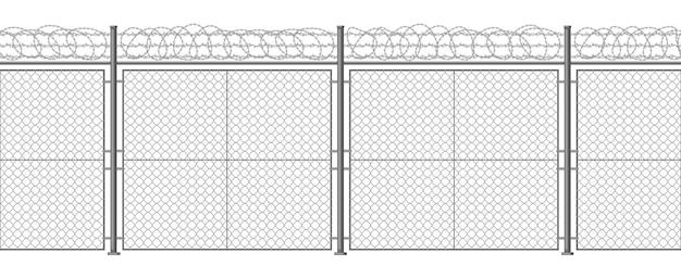 Recinto di filo spinato metallico barriera di rasoio fissata con pilastri in acciaio bordo di filo di rasoio sfondo vettoriale