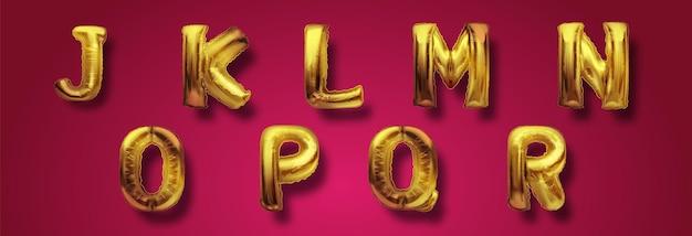 Palloncini abc oro metallizzato, lettere dorate alfabetiche. palloncini tipo oro per testo, lettera, capodanno. insieme realistico di vettore 3d. lettere da j a r