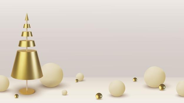 Albero di natale in oro metallizzato