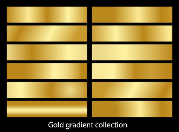 Collezione di set di sfumature oro metallico