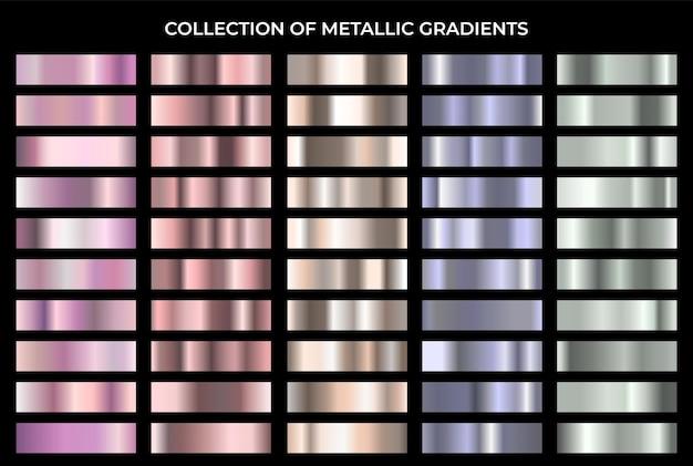 Collezione di sfondo di gradazione di texture di metallo lucido con grande set sfumato metallico