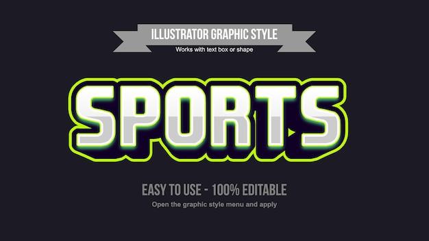 Stile di testo del logo di gioco in prospettiva 3d metallizzato e verde