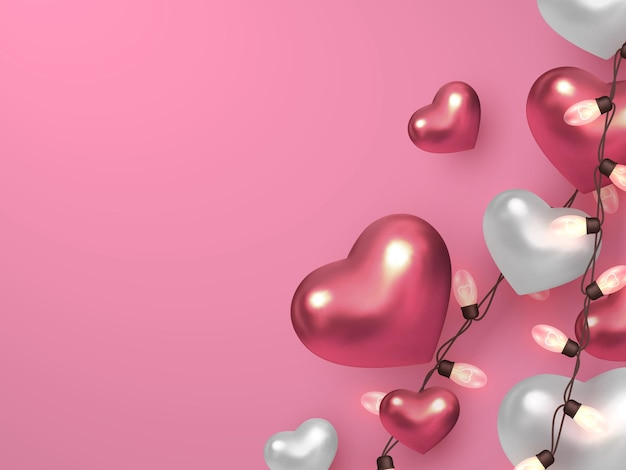 Cuori metallici con ghirlande elettriche su sfondo rosa pastello.