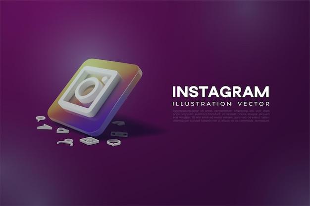 Instagram metallico 3d