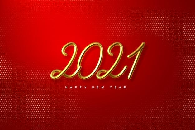 Numeri metallici su sfondo rosso