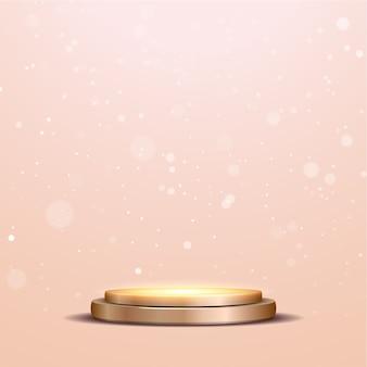 Podio metallico elegante podio in bronzo metallizzato con riflettori e luci bokeh