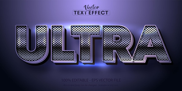Effetto testo di colore viola metallizzato, stile alfabeto metallico lucido