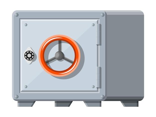 Cassaforte metallica con porta chiusa per soldi. sicurezza nel caveau di una banca, deposito di deposito, cassetta di sicurezza di contanti. illustrazione vettoriale in stile piatto