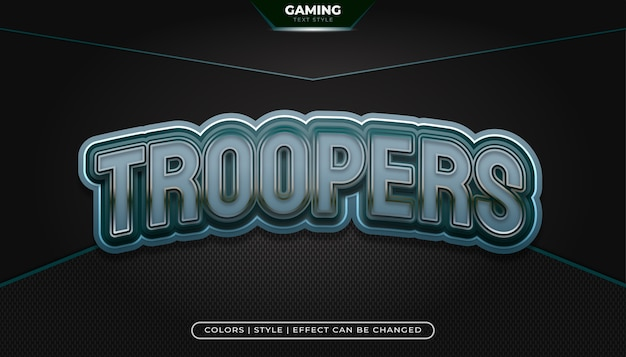 Stile di testo metallico con effetto in rilievo e curvo per il nome del logo di gioco o l'identità e-sport