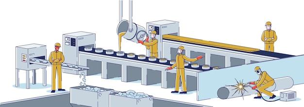 Concetto di industria metallurgica. team di metallurgisti sta lavorando presso l'impianto metallurgico di fusione dell'acciaio, produzione di prodotti in metallo. officina di fabbrica. cartoon contorno lineare piatto illustrazione vettoriale