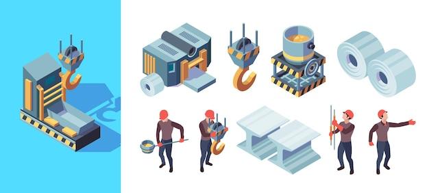 Fabbrica di metallurgia. illustrazione isometrica di vettore di produzione di fonderia di acciaio pesante per la produzione di ferro