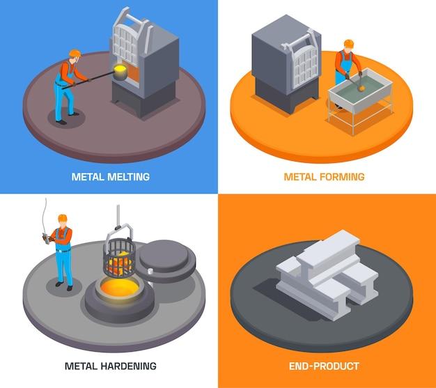 Concetto di design isometrico dell'industria della fonderia metallurgica con testo e persone che gestiscono impianti di fusione e tempra dei metalli