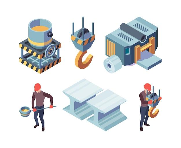 Metallurgia isometrica. produzione di acciaio fabbrica fonderia metallica industriale acciai di ferro vettore raccolta. metallo da fonderia, illustrazione dell'industria metallurgica di produzione