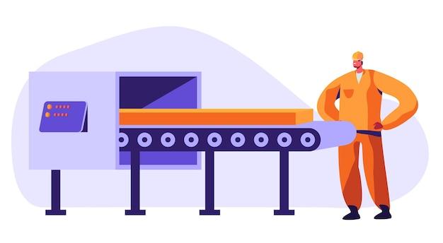 Lavoratore di metallurgia che guarda sul nastro trasportatore che trasporta pezzi in acciaio o ferro che effettua il controllo di qualità in fabbrica. illustrazione di concetto di produzione di industria pesante, metallo e lega
