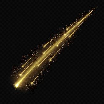 Meteora o cometa su sfondo trasparente.