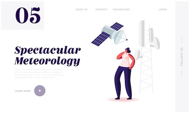 Attrezzatura meteorologica, servizio internet 5g e tecnologie intelligenti, modello di pagina di destinazione del progresso tecnologico.