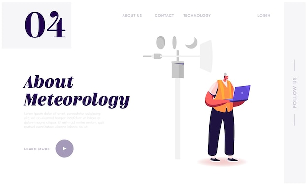 Meteorology science, modern technologies for weather forecast landing page template