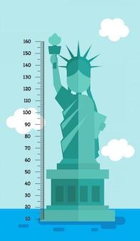Parete del tester con la statua della libertà, illustrazione