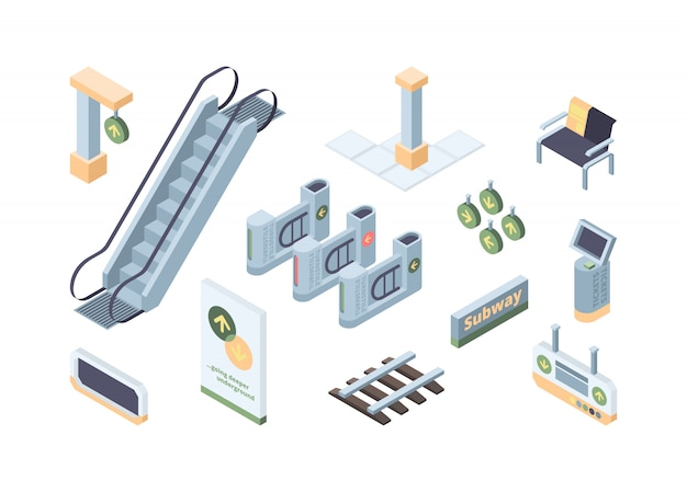 Insieme di illustrazioni isometriche di vettore 3d degli elementi di progettazione della metropolitana