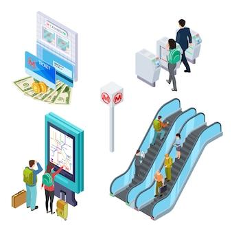Elementi della metropolitana. scala mobile della metropolitana, tornello, banco informazioni con persone. metropolitana