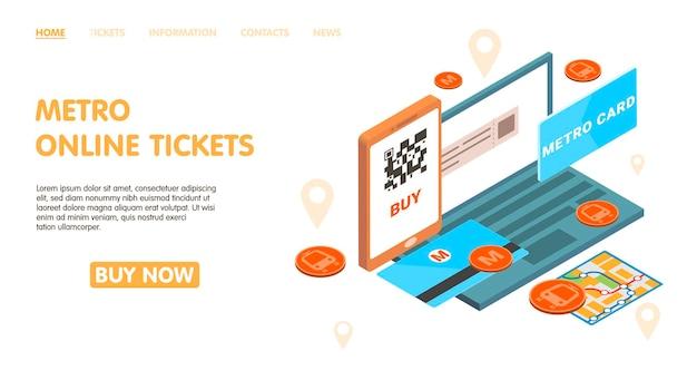Progettazione della pagina dei biglietti online della metropolitana con l'illustrazione isometrica dei simboli della carta della metropolitana