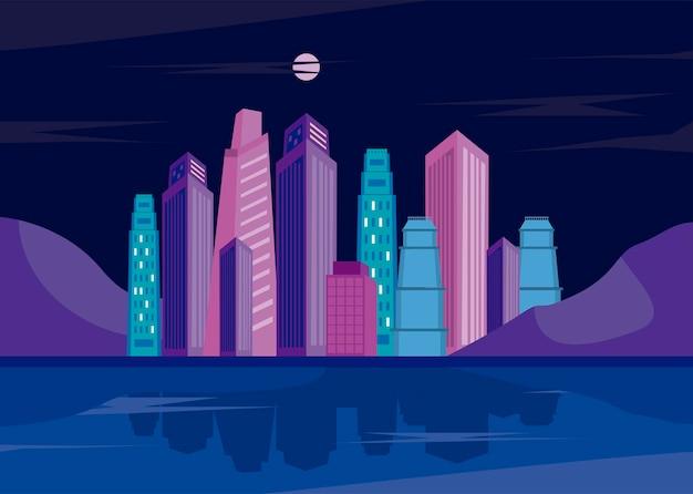 Paesaggio urbano notturno degli edifici della metropoli