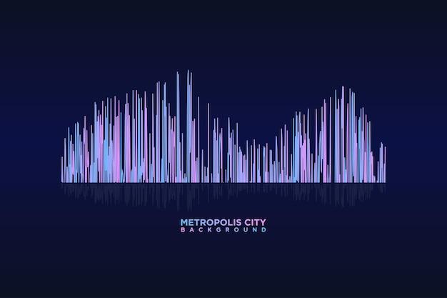 Metropolis city of light onda sonora strisce colorate equalizzatore sfondo