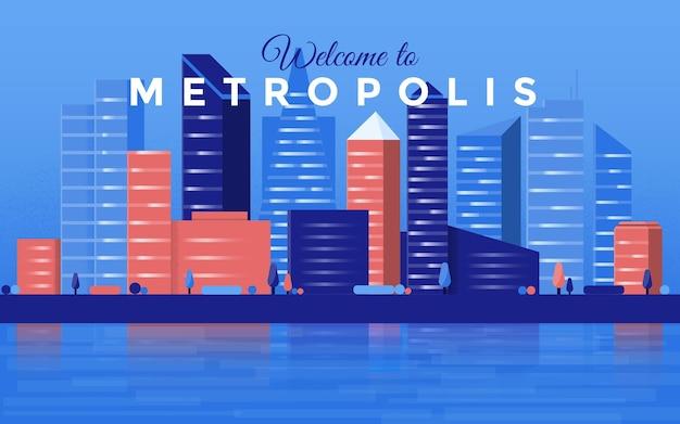 Metropoli con grattacieli in illustrazione orizzontale. fondo moderno del centro di affari della città con gli edifici di grattacieli di architettura futuristica sul fiume o sulla riva del mare. illustrazione vettoriale
