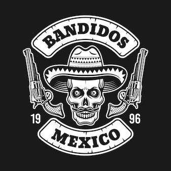 Teschio di bandito messicano in cappello sombrero con emblema di due pistole