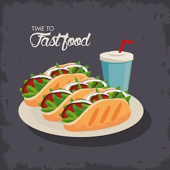 Burrito messicani con soda deliziosa icona fast food illustrazione
