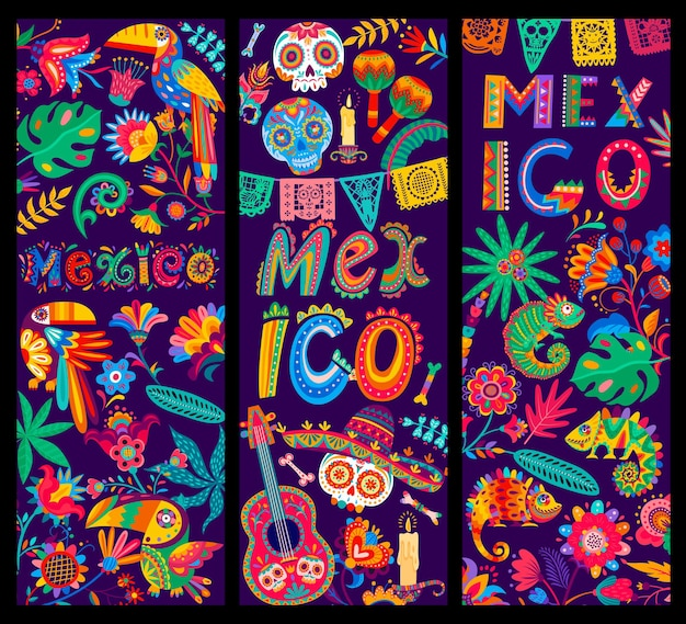 Banner di cartoni animati messicani, chitarra e teschio di zucchero calavera in sombrero, tucani e camaleonte, fiori e bandiere papel picado. carte vettoriali messico dia de los muertos festa festiva celebrazione
