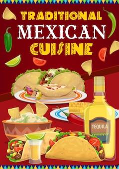 Menu di cibi e bevande della cucina messicana di viva mexico holiday fiesta party. tacos, burritos e nachos con peperoncino, pomodori e avocado guacamole, tequila, lime e pannocchie di mais grigliate