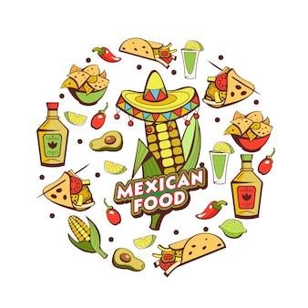 Cucina messicana. una serie di famosi piatti messicani. fast food.