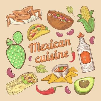 Doodle disegnato a mano di cibo tradizionale di cucina messicana con tacos e nachos