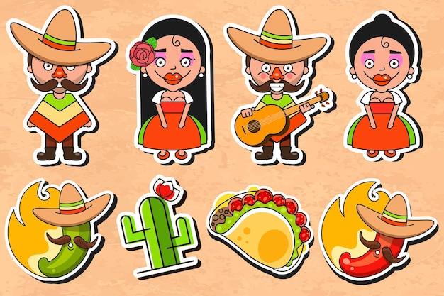 Illustrazione vettoriale di adesivo cultura messicana su sfondo vintage