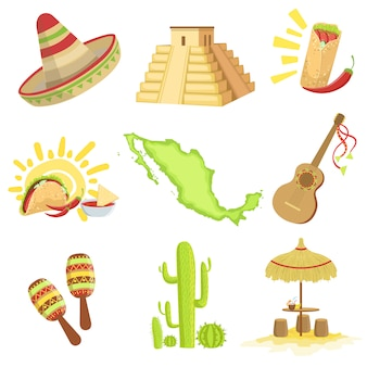 Insieme di simboli di cultura messicana
