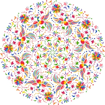 Composizione rotonda ricamo messicano. uccelli e fiori