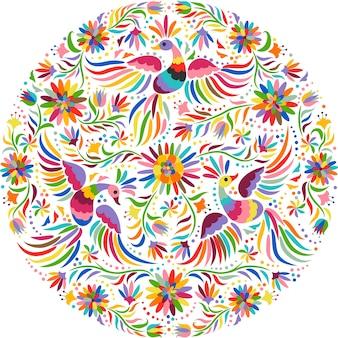 Modello rotondo ricamo messicano. modello etnico colorato e ornato. sfondo chiaro di uccelli e fiori. sfondo floreale con brillante ornamento etnico.