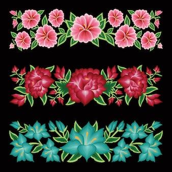 Set di bordi floreali in stile ricamo messicano