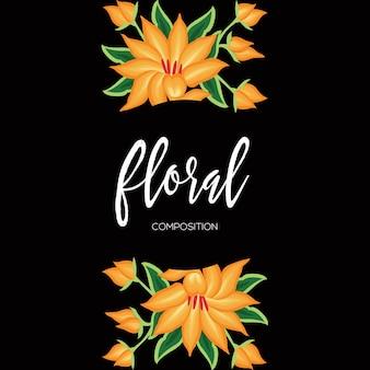Composizione floreale nello spazio della copia di stile del ricamo messicano