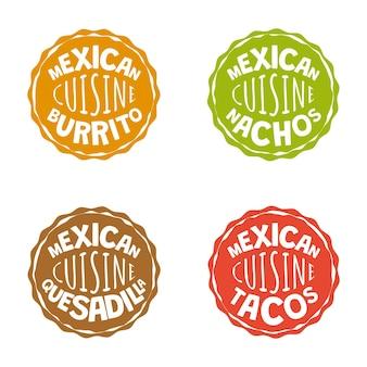 Distintivi messicani fast food di fast food cafe o ristorante cucina messicana burrito logo latino americano