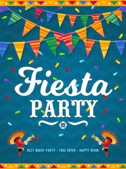 Manifesto del partito fiesta messicana con personaggi dei cartoni animati di peperoncino rosso.