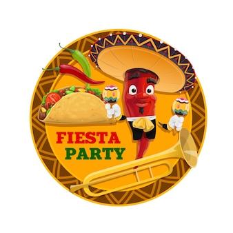Festa di festa messicana del personaggio dei cartoni animati di peperoncino rosso, cappello sombrero e maracas, taco tortilla di mais, peperoni jalapeno e tromba. cartolina d'auguri festiva vacanza messico