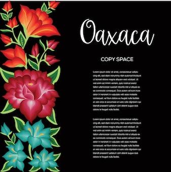 Composizione nello spazio della copia in stile ricamo floreale messicano