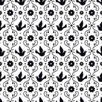 Modello senza cuciture di arte popolare messicana con fiori, foglie e uccelli su fondo bianco. design tradizionale per festa di festa. elementi floreali ornati dal messico. ornamento folcloristico messicano.
