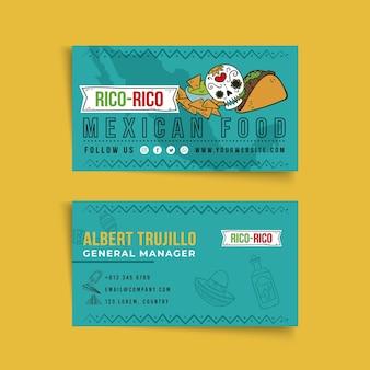 Biglietto da visita fronte-retro di cibo messicano