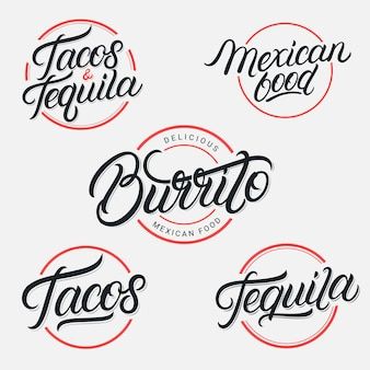 Cibo e bevande messicane tequila, tacos, burrito lettering loghi impostati. stile vintage. calligrafia moderna. Vettore Premium